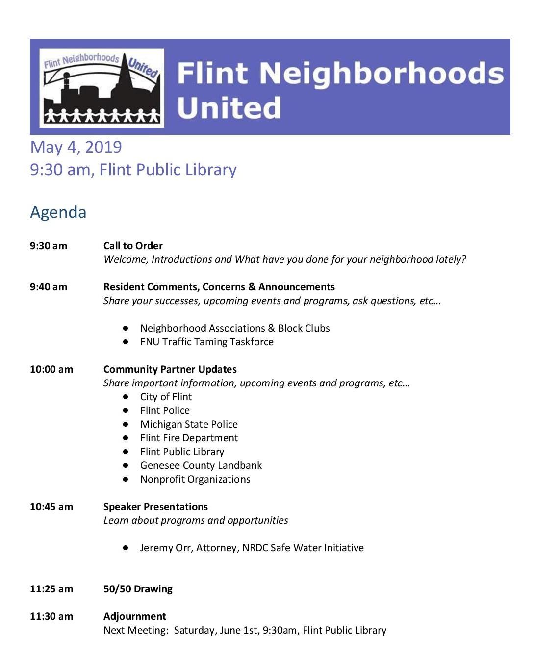 May FNU Meeting @ Flint Public Library   Flint   Michigan   United States