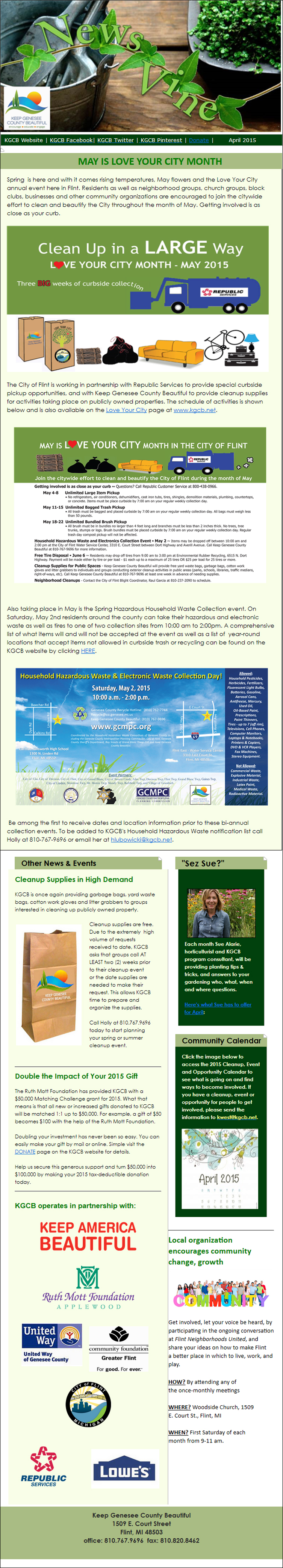 Keep Genesee County Beautiful April Newsletter