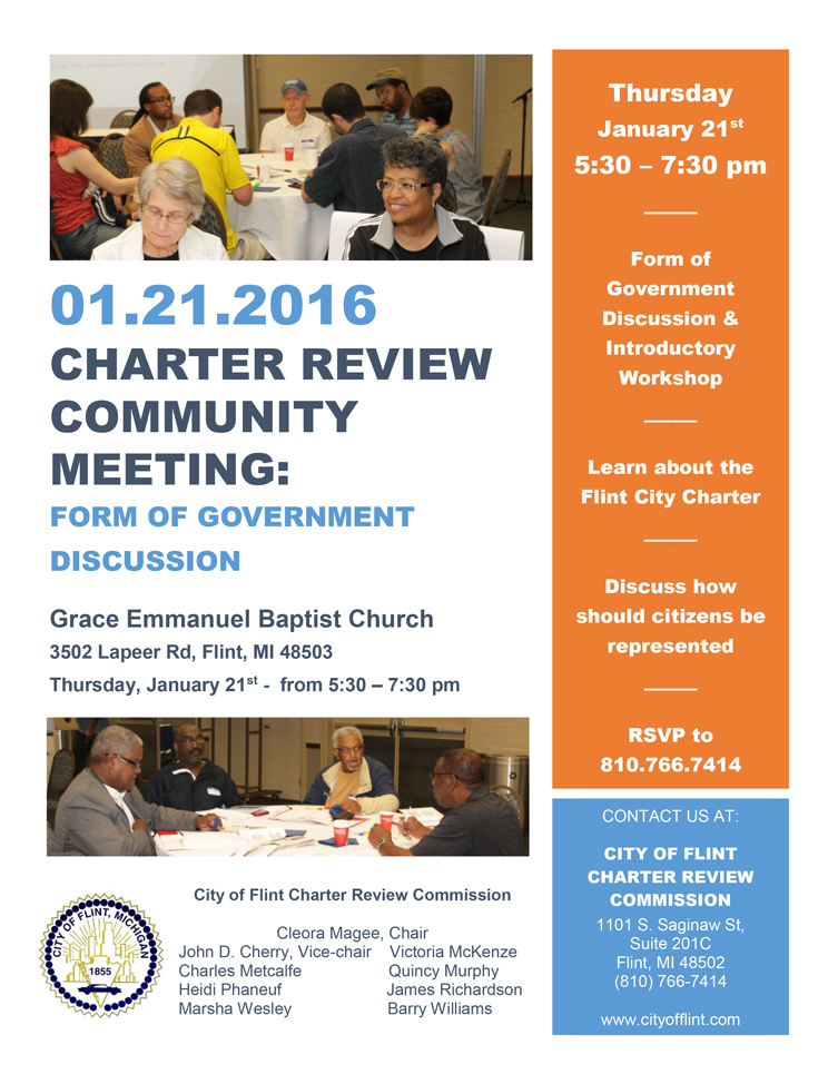 Charter Review Commission Form of Government Community Meeting Flier