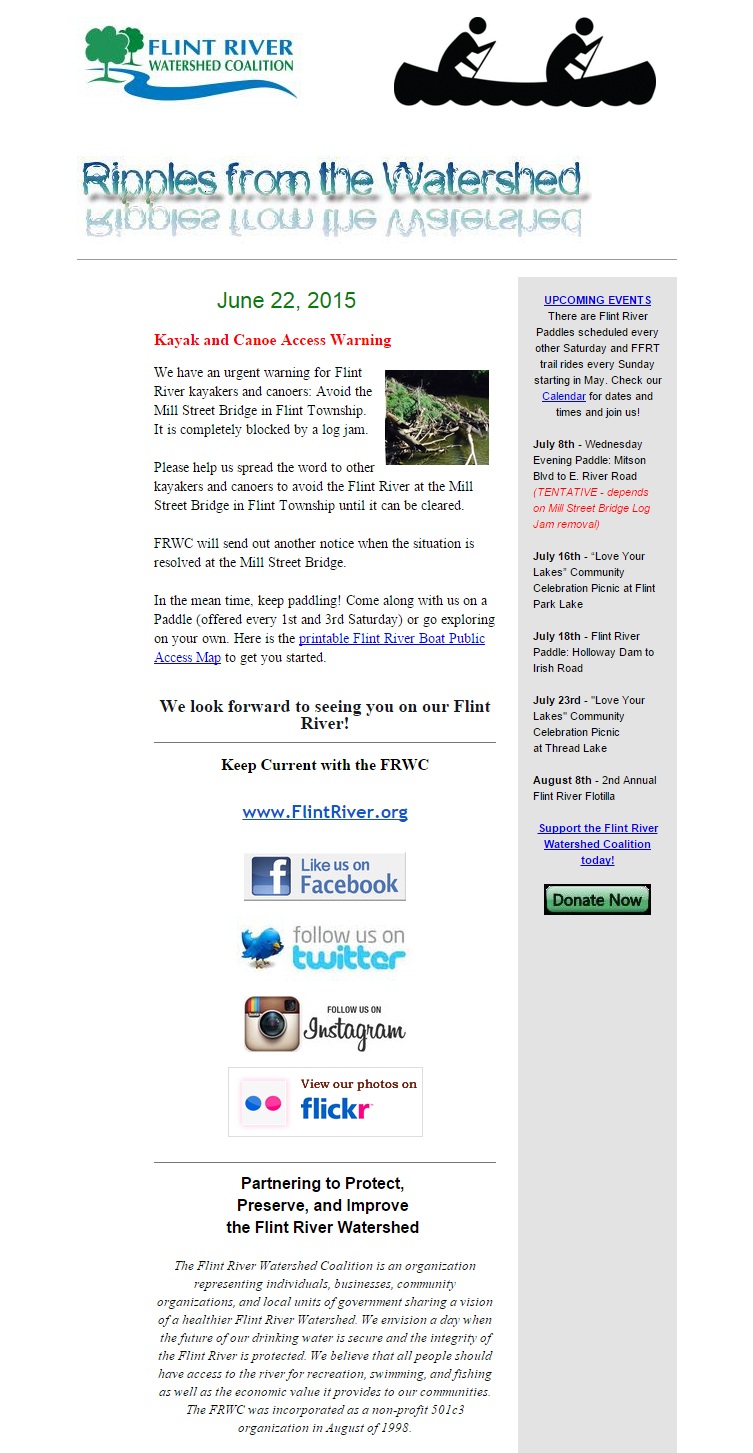 Flint River Watershed Coalition June Newsletter