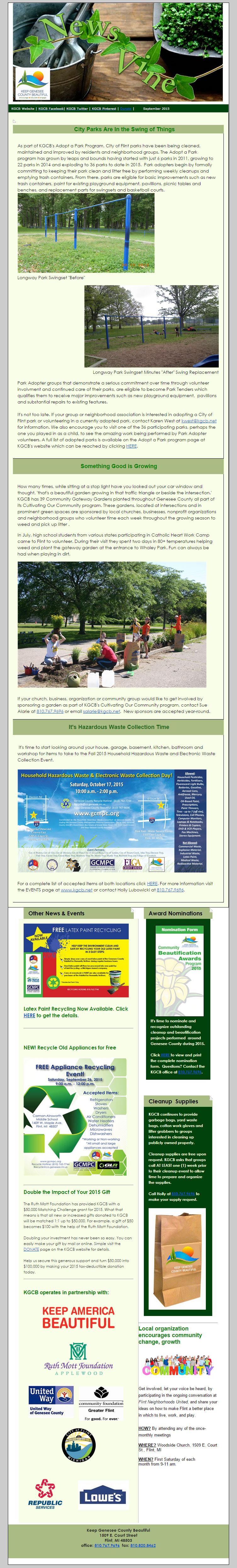 Keep Genesee County Beautiful September Newsletter