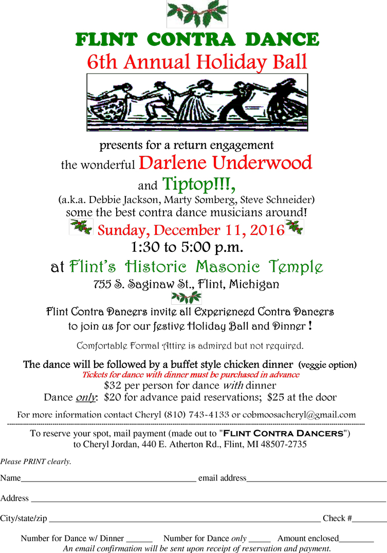 6th Annual Holiday Contra Ball @ Flint's Historic Masonic Temple | Flint | Michigan | United States