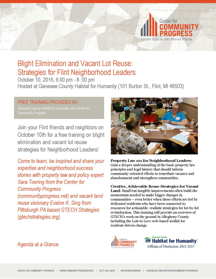 Blight Elimination and Vacant Lot Reuse Training