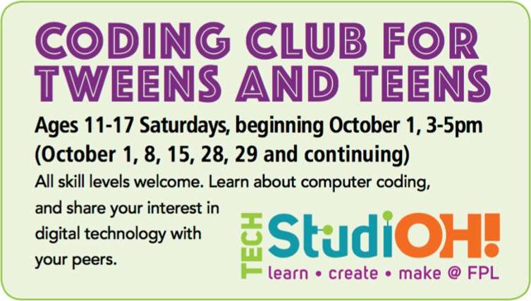 Teens and Tweens TechStudioOH! Flint Public Library
