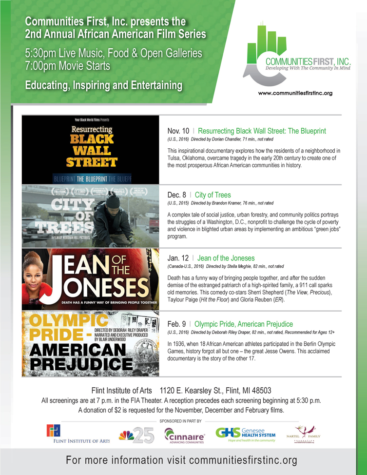 Communities First, Inc. to Host 2nd Annual African American Film Series at Flint Institute of Arts
