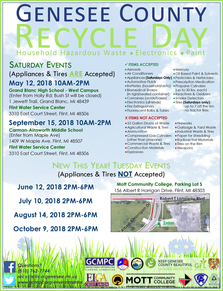 Genesee County Recycle Day @ Mott Community College, Parking Lot S | Flint | Michigan | United States
