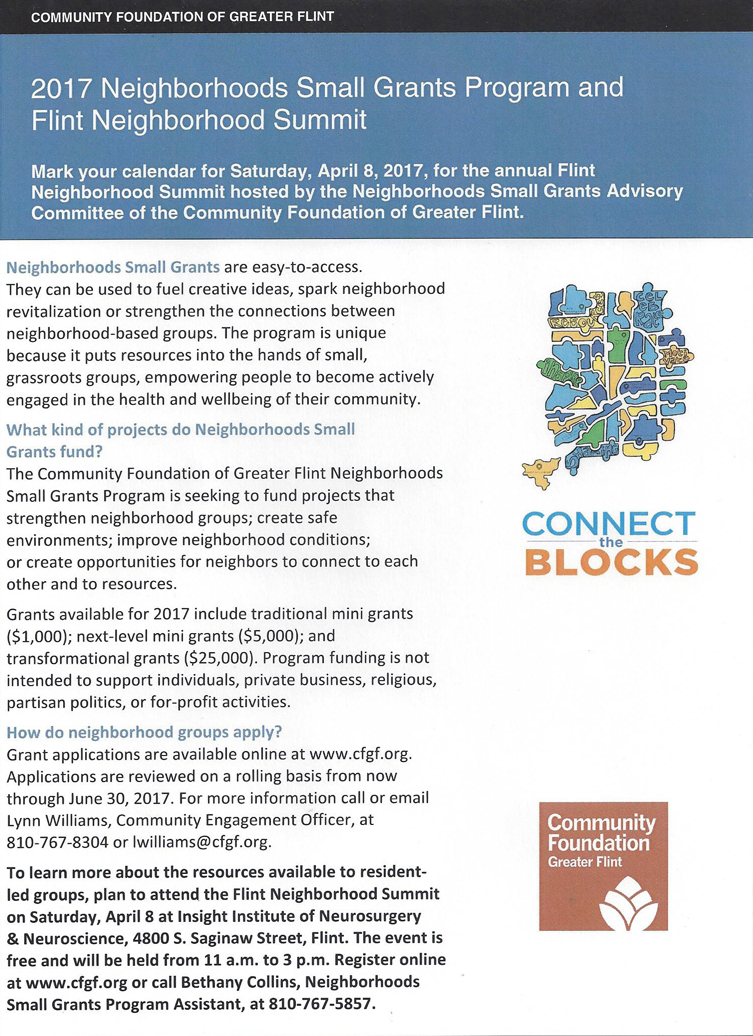 2017 Neighborhoods Small Grants Program and Connect the Blocks Summit