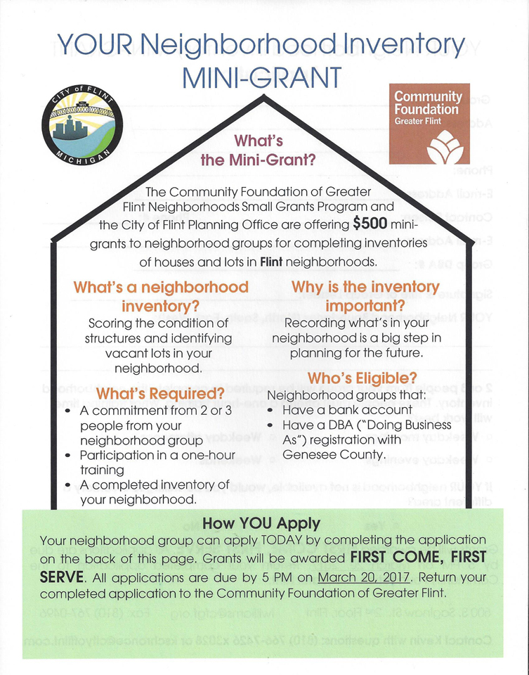 Community Foundation Neighborhood Inventory Mini Grant