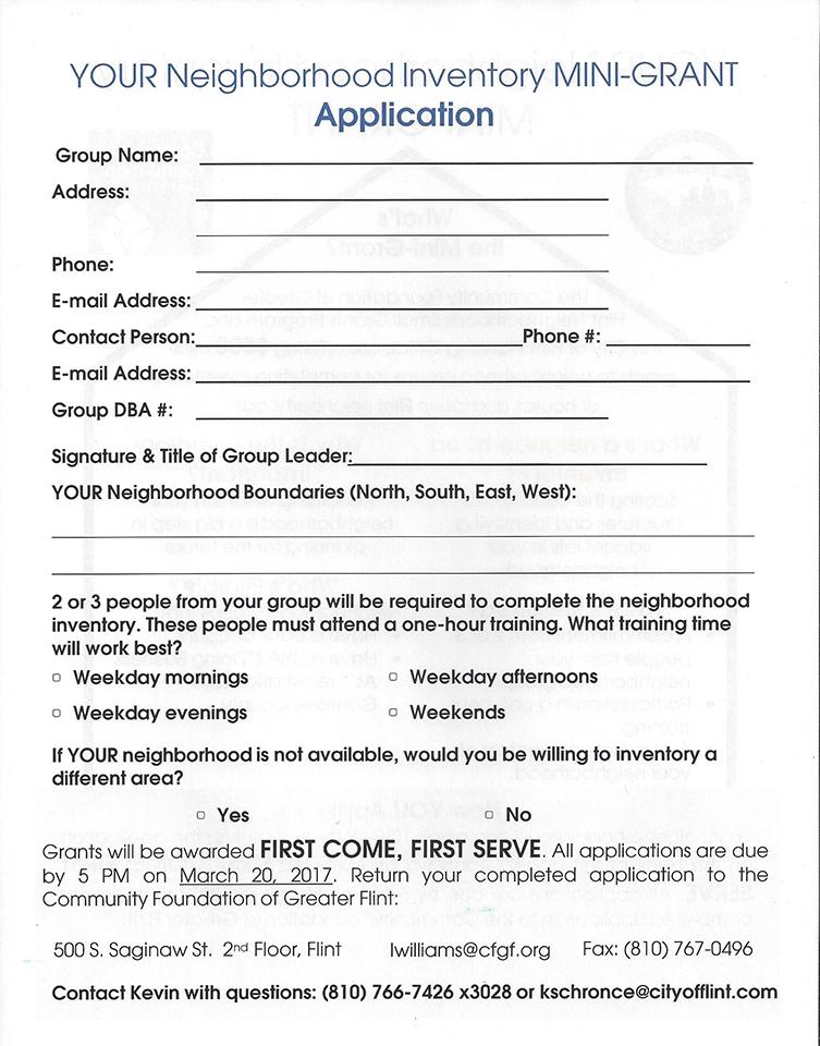 Community Foundation Neighborhood Inventory Mini Grant