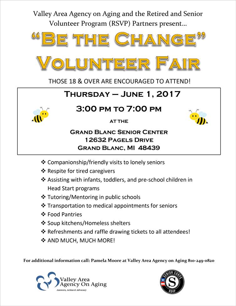 """Be the Change"" Volunteer Fair @ Grand Blanc Senior Center | Grand Blanc | Michigan | United States"