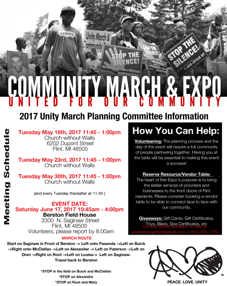 News Release - Flint: Unity March June 17 - Route included here