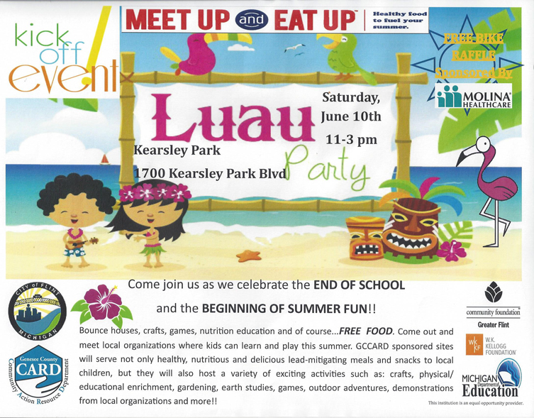 Meet Up and Eat Up Luau Party @ Kearsley Park | Flint | Michigan | United States