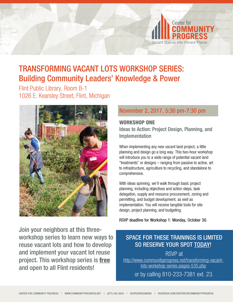 Transforming Vacant Lots Workshop Series - Workshop 3 - Pitch Your Idea! @ Flint Public Library Room B-1 | Flint | Michigan | United States