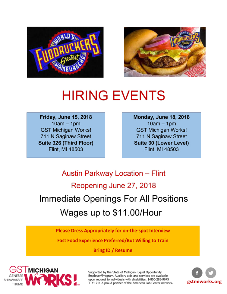 Fuddruckers Hiring Events