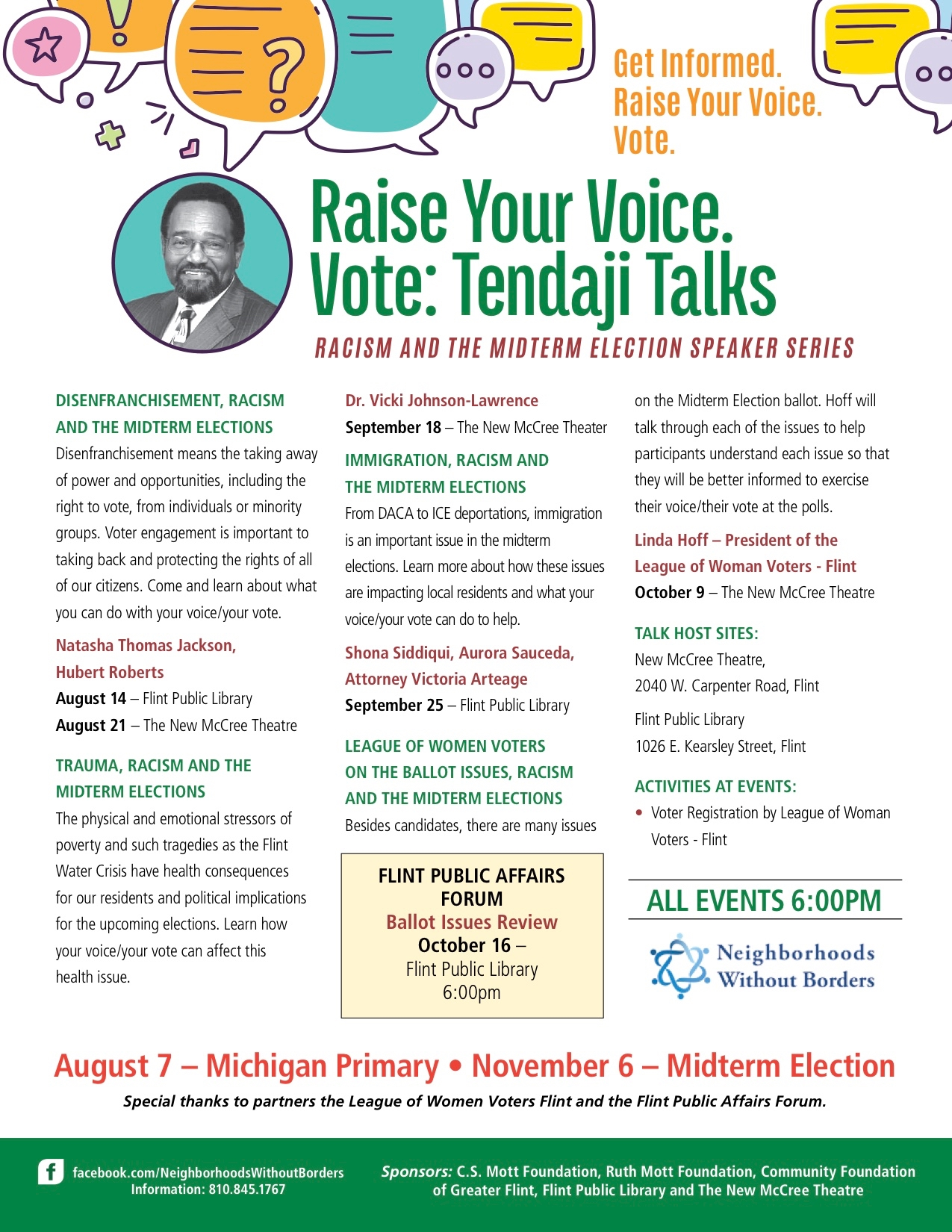 Disenfranchisement, Racism and the Midterm Elections - Tendaji Talks @ The New McCree Theatre | Flint | Michigan | United States