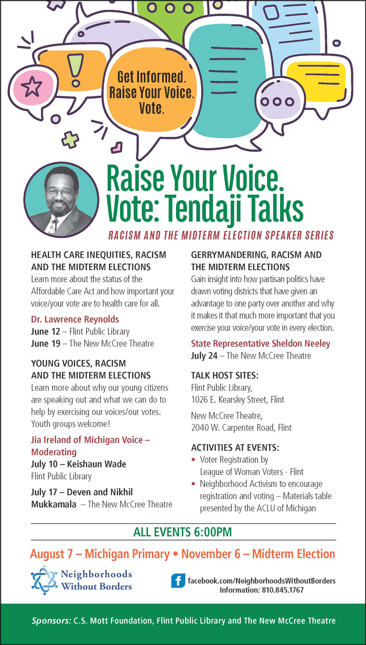 Young Voices, Racism and the Midterm Elections - Tendaji Talks @ The New McCree Theatre | Flint | Michigan | United States