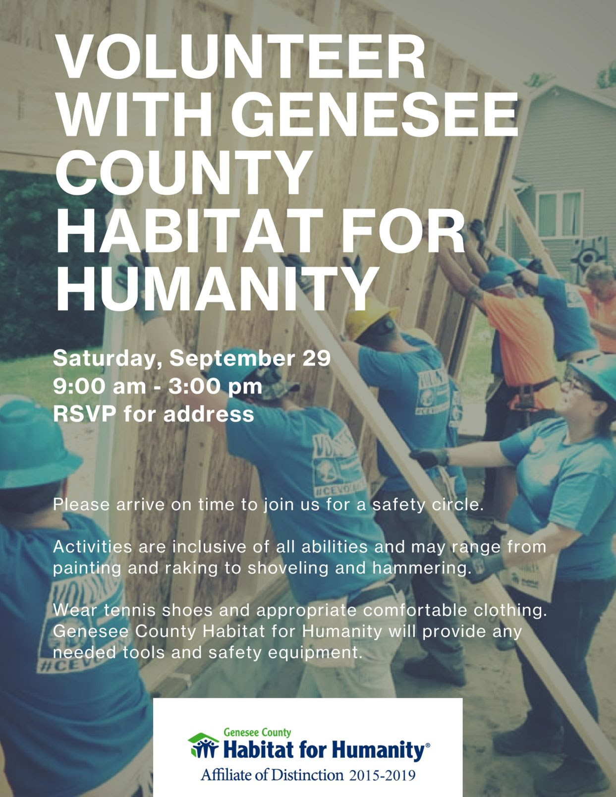 Volunteer with Genesee County Habitat for Humanity Saturday, September 29, 2018