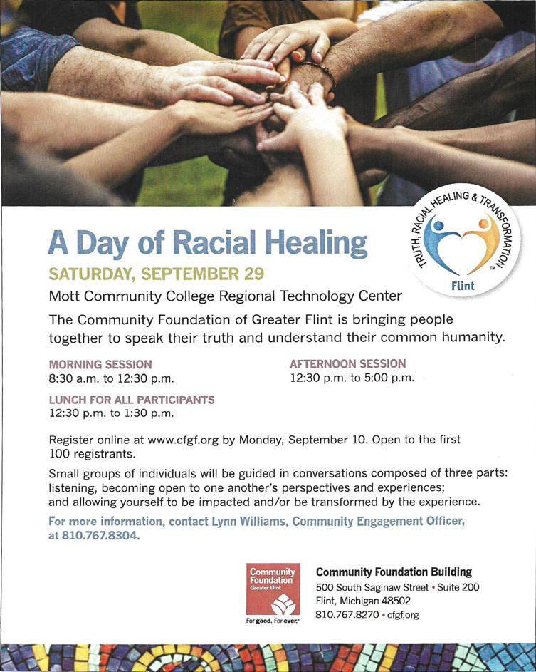 Day of Racial Healing @ Mott Community College Regional Technology Center | Flint | Michigan | United States