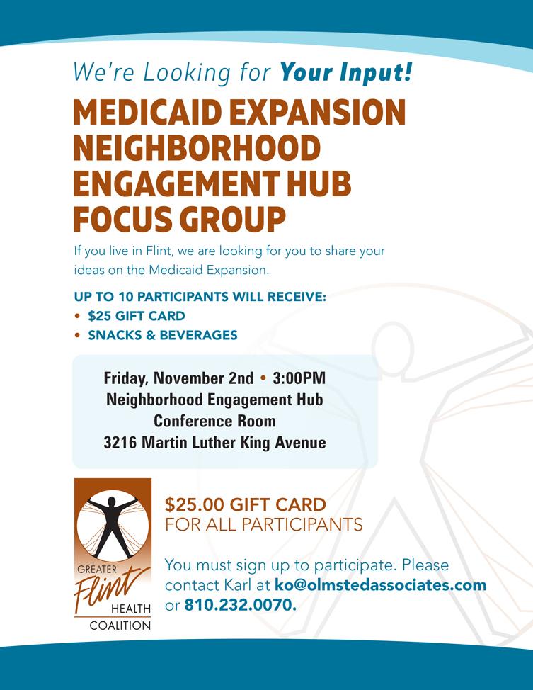 Medicaid Expansion Focus Group at NEH @ Neighborhood Engagement Hub | Flint | Michigan | United States