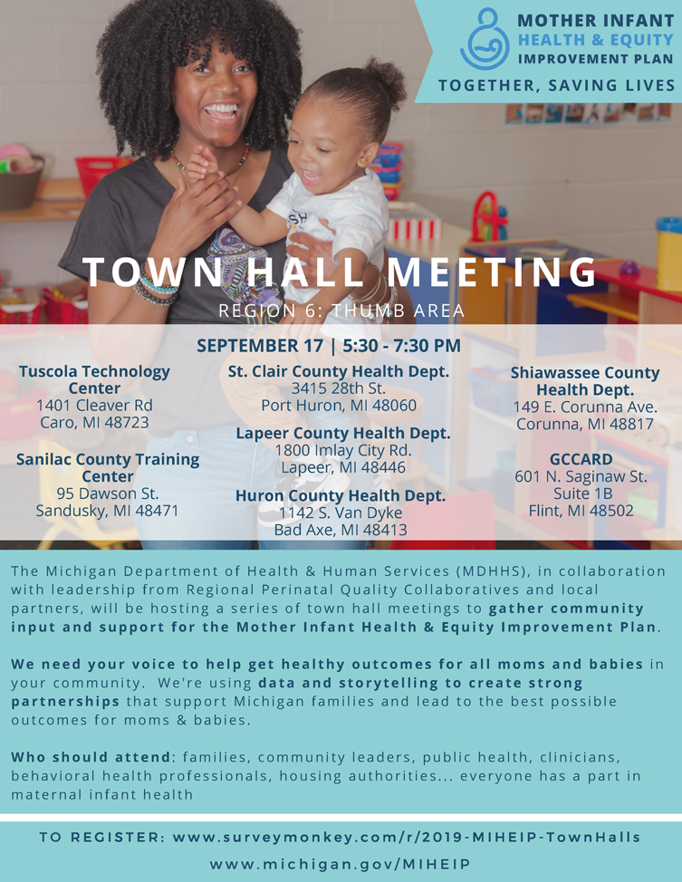 Mother Infant Health & Equity Improvement Plan Town Hall Meeting @ GCCARD | Flint | Michigan | United States