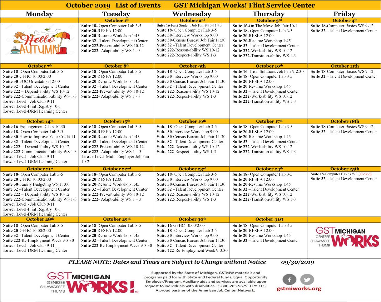 Weekly Lineup/October Public Calendar