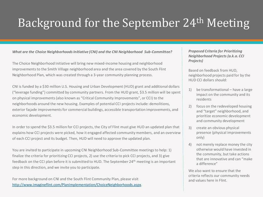 Choice Neighborhoods Initiative (CNI) - Neighborhood Sub-Committee Meeting