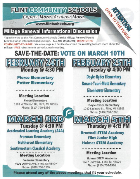 Flint Community Schools Millage Renewal Informational Discussion