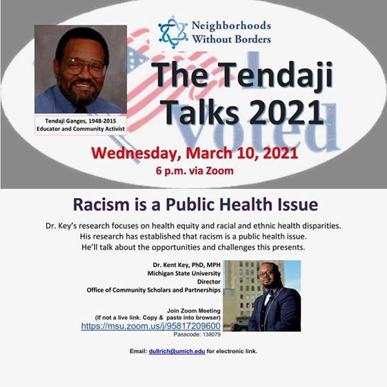 Tendaji Talks: Racism is a Public Health Issue @ Online via Zoom