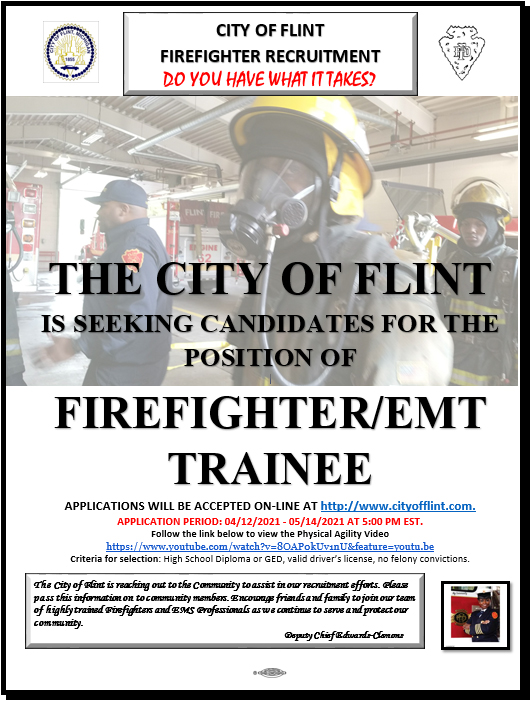 Flint Fire is Seeking Candidates for the Position of Firefighter EMT Trainee