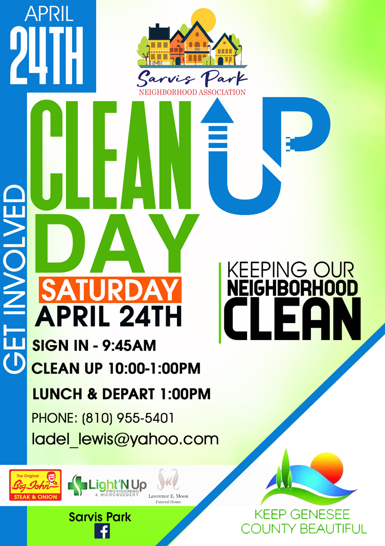Sarvis Park Neighborhood Association - Clean Up Day @ Sarvis Park | Flint | Michigan | United States